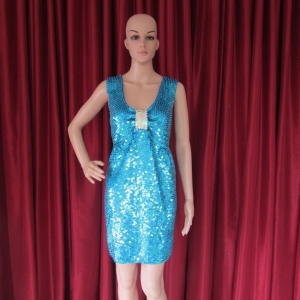 R38 Blue sequins  Showgirl Dress M