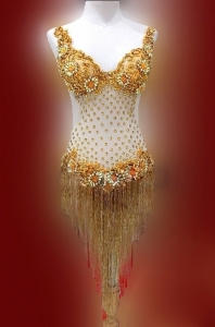 M6788 Dancing with the Star Sequin Dance Bugle Beaded Showgirl Bodysuit Showgirl Dress