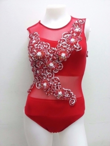 M688 Cher Inspired Chinese Flower Bugle Showgirl Leotard