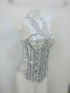 L735 Metallic Twinkle Glam Punk Bodysuit