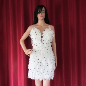 R74 White Feather Sequin Showgirl Dress M