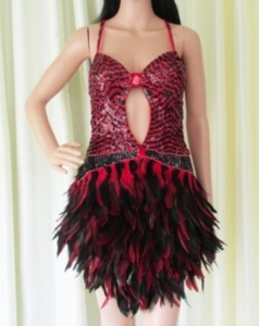 R71 Red Firing Bird Showgirl Dress S