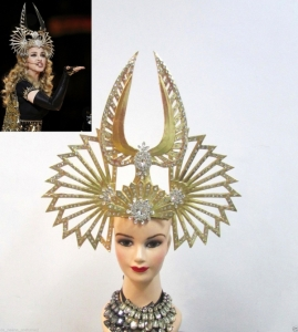 H084N Egypt Madonna Inspired Super Bowl Crystal Studded Showgirl Headdress