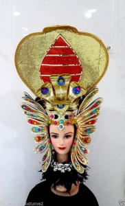 H1234 Pharaoh Egypt Cleopatra King CoShowgirl Bra Snake Showgirl Headdress
