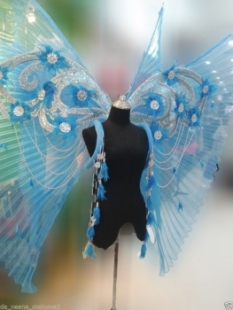B047 Butterfly Blue Angel Angel Wings Backpack