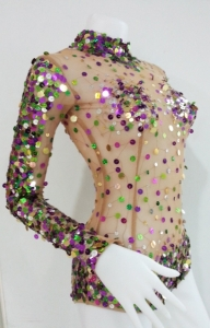 L740 Colorful Burlesque Nude Showgirl Leotard Showgirl Bodysuit