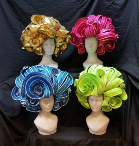 H784 Wavy Curly Big Hair Pretty Girl Showgirl Headdress