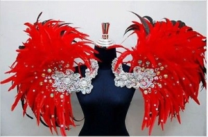 B0398 Vegas Carnival Brazilian Rio Carnival Samba Dance Costume  Showgirl Brazil Feather Pink Kitty Backpiece
