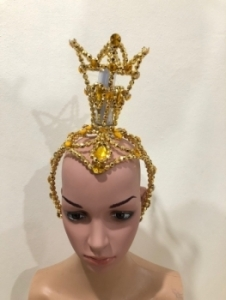 H020J Queen Crown Crystal Beaded Showgirl Headdress