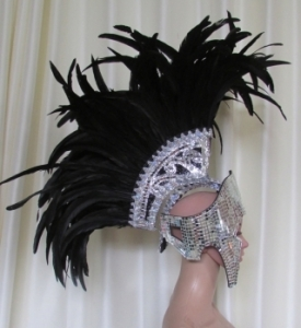 H017R Roman Mohawk Feather Showgirl Headdress Helmet