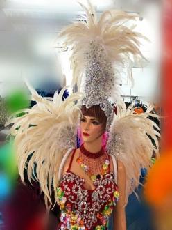 DaNeeNa H571 Venus feather Showgirl Dance pageant Sequin Fringe Wig Headdress