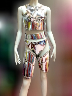 EVITA FTR Feather Dance Drag Bra Skirt Bra Belt Samba Dress Costume Set XS-XL