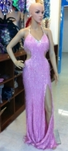 G018 Beaded Showgirl Gown