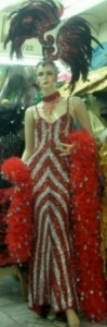 RED Carnival Festival Showgirl Gown and Boa