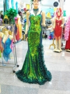 G009 Sequin Ruffle Showgirl Gown