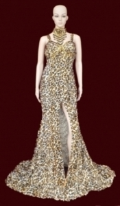 G011 Tiger Sequin Showgirl Gown
