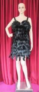 M13 Black Mystery Feather Showgirl Dress XL