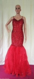 M12 Red Mermaid Sequin Showgirl Gown M