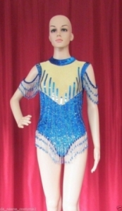 L018 Wavy Lady Sequin Showgirl Leotard S - M