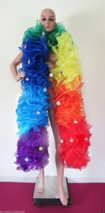 B36 Rainbow Sequin Trim Gigantic Showgirl Ruffle Boa