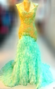 G604 Gold Green Angel Showgirl Gown