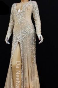 G029C Dior J'adore Charlize Theron Diva Nude White Showgirl Gown