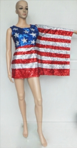 M061 USA America Flag and UK England Flag Sequin Showgirl Dress