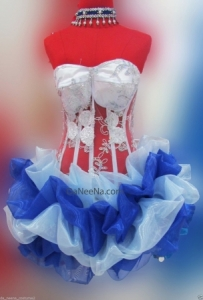 M150 Blue Flower Dancer Lady Showgirl Vegas Stage Dance Showgirl Dress