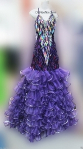 M147 Purple Leaf Queen Showgirl Vegas Stage Dance Ruffle Showgirl Dress