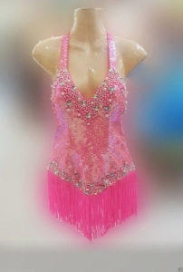 M122 Pink Lady Latin Showgirl Tango Salsa Dance Showgirl Dress