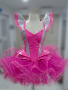 L044Z GAGA Beyonce Futurelistic TUTU Corset Leather Showgirl Dress
