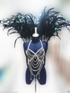 Showgirl Bra9 Bird of Paradise Chainmail Feather Showgirl Bra Showgirl Backpack Costume set
