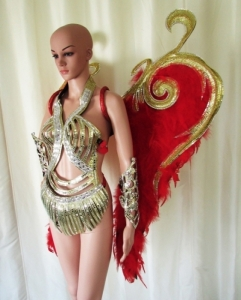 C682 Warrior of Angel Crystal Costume set Feather Angel Wings