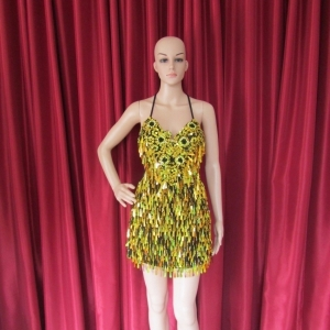 R18 Gold Flower Queen Showgirl Dress S