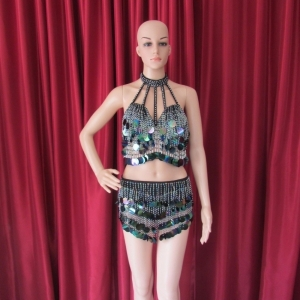 R22 Black Lady Showgirl Bra Skirt XS