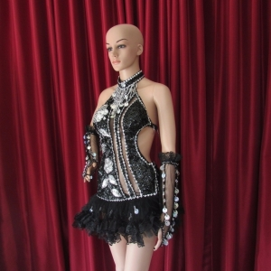 R21 Black Sexy Flower Showgirl Dress S