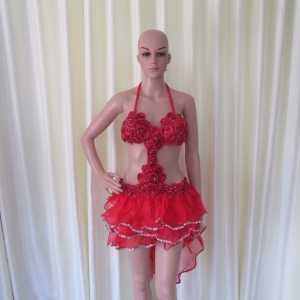 R27 Shell Queen Salsa Showgirl Dress S
