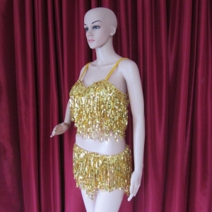 R37 Gold Sequin Pants Costume S