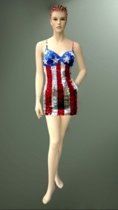 M0611 Independence 4th of July uk usa flag sequin Showgirl Dress