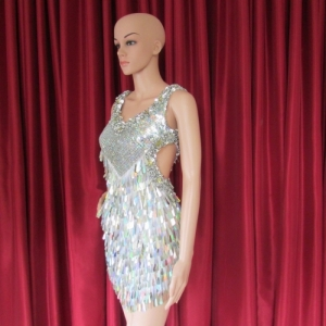 R36A Silver Salsa Showgirl Dress