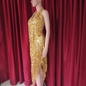R35 Gold Elegant Pageant Dance Showgirl Dress M