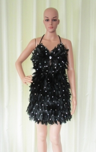 R70 Black Feather Sequin Showgirl Dress M