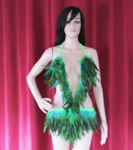 R75 Forrest Bird Feather Showgirl Dress S