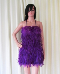 R73 Pretty Purple Bird Feather Showgirl Dress S