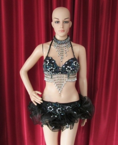 R49 Black Flower Lady  Showgirl Bra Skirt S