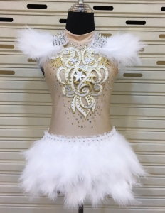 M753 White Warrior Showgirl Bodysuit