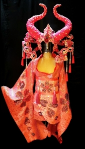 C812Red Bull Queen Princess Crystal Emperor Headdress Costume Set