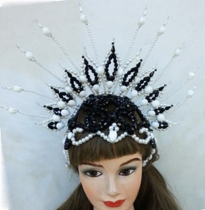 H020C Queen Crown Angel headdress with clear beads and crystals Headdress