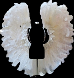 B043N Gigantic White Ostrich Feather Angel Wings