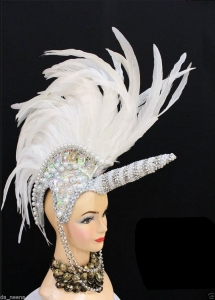 H562 White Unicorn Showgirl Headdress without horn